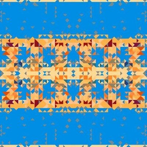 Broad Yellow Horizontal Patterned Stripes on Blue