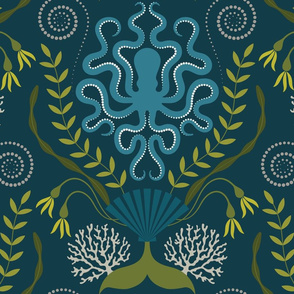 Navy Nautical Damask