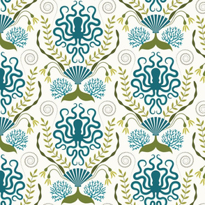 Nautical Damask - Slightly Off White