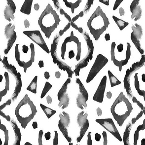 Allover Ikat White Grey || Jumbo Large Scale  Watercolor Black white || Tribal Neutral Home Decor Gray _ Miss Chiff Designs