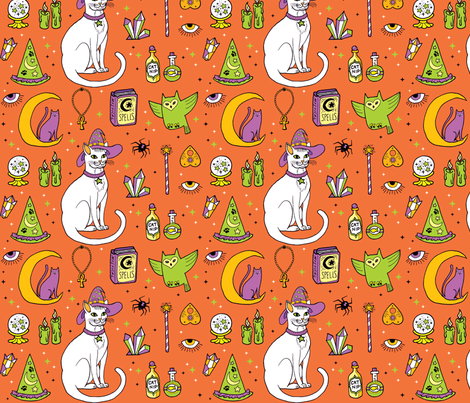 Mystical Cats Halloween in Orange and white fabric by pinkowlet on Spoonflower - custom fabric