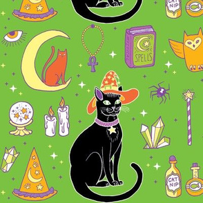 Mystical Cats Halloween in Green and black