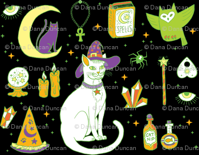 Mystical Cats Halloween in Black and green