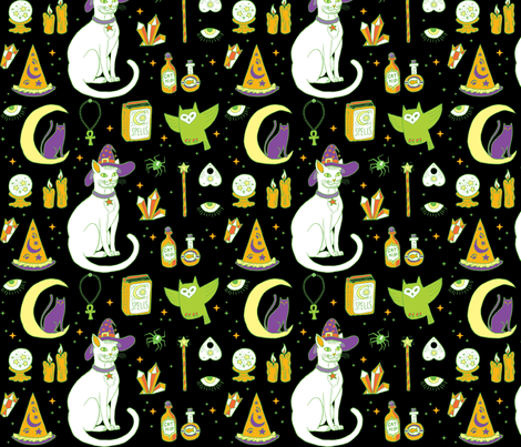 Mystical Cats Halloween in Black and green fabric by pinkowlet on Spoonflower - custom fabric