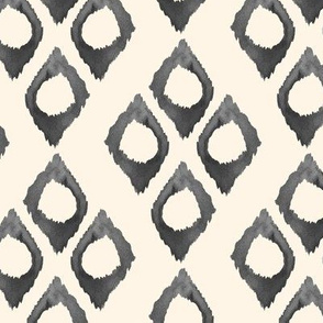 Diamond Watercolor Ikat Cream Off White Grey Black white || Tribal Neutral Home Decor Gray _ Miss Chiff Designs