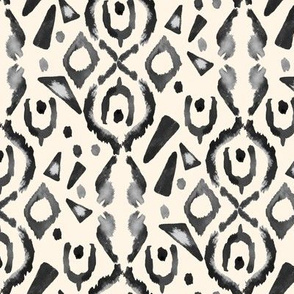 Watercolor Ikat Cream Grey Black white || Tribal Neutral Home Decor Gray