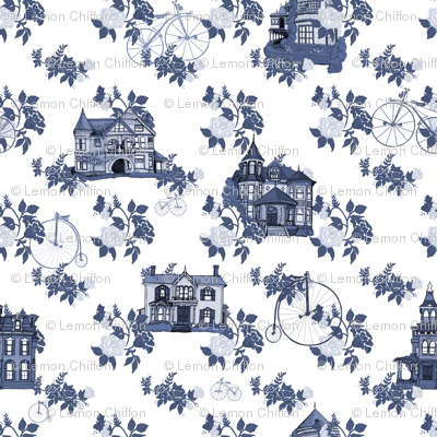 Victorian House Blue Floral
