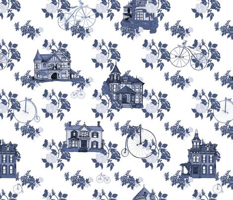Victorian House Blue Floral fabric by lemon_chiffon on Spoonflower - custom fabric