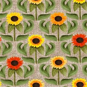 Sunflower Damask on Faux Linen Texture