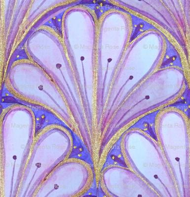 Art Deco Pattern // Pink scallop watercolor