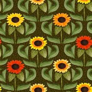 Sunflower Damask on Brown Pebbly Background