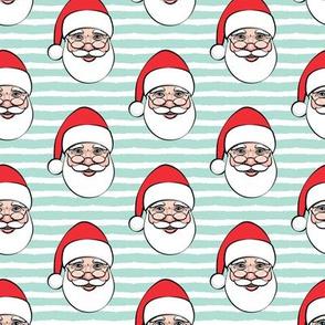 Santa Claus - aqua stripes - Christmas