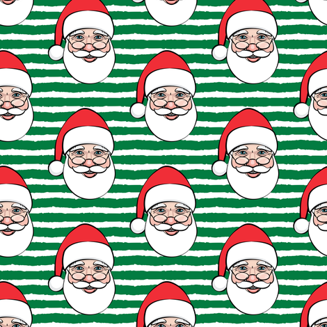 Santa Claus - green stripes - Christmas fabric by littlearrowdesign on Spoonflower - custom fabric