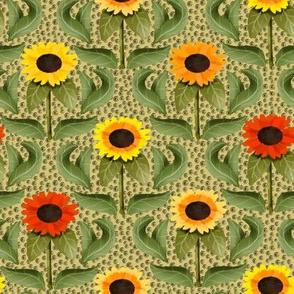 Sunflower Damask on Light Yellow Pebbly Background