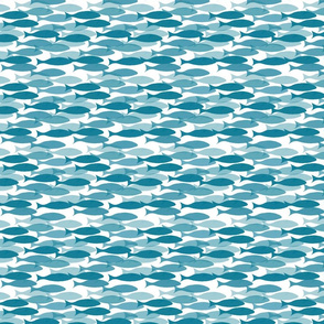 Little Fishies in Shades of Blue on White