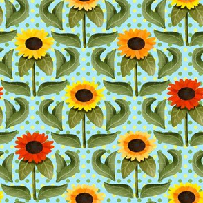 Sunflower Damask on Green and Yellow Polka Dots