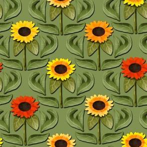 Sunflower Damask on Green