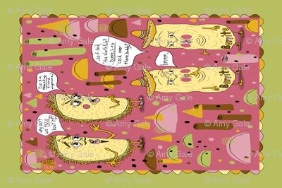 taco and burrito punsters kitchen tea towel