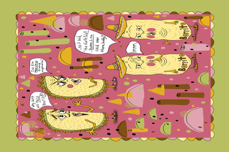 taco and burrito punsters kitchen tea towel fabric by amy_g on Spoonflower - custom fabric