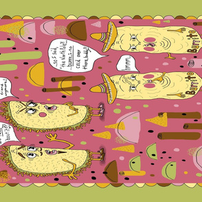 taco and burrito punsters kitchen tea towel