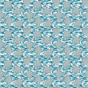 Baby Sea Turtles in Gray & Blue Tones with Blue Fish Background