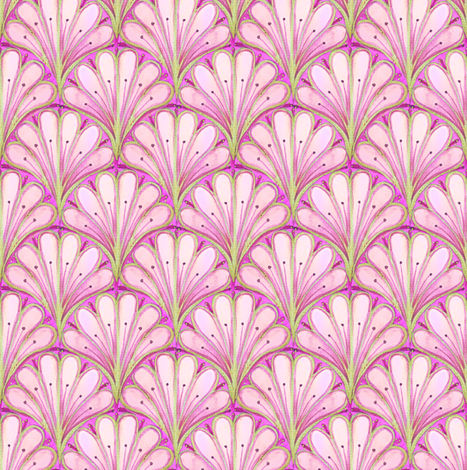 Art Deco Pattern // Pink scallop watercolor fabric by magentarosedesigns on Spoonflower - custom fabric