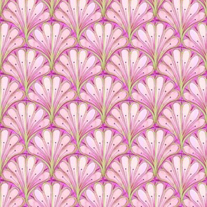 Art Deco Pattern // Pink scallop watercolor