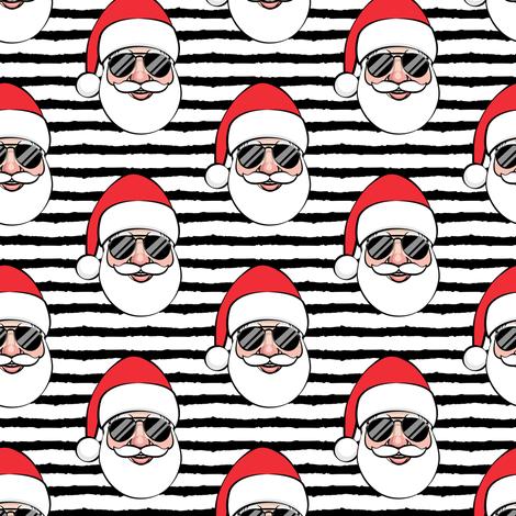 Santa Claus w/ sunnies - black stripes - Christmas fabric by littlearrowdesign on Spoonflower - custom fabric