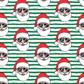 Santa Claus w/ sunnies - green stripes - Christmas