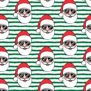 Santa Claus w/ sunnies - green stripes - Christmas