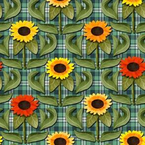 Sunflower Damask on Turquoise Plaid
