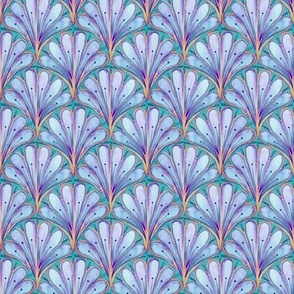 Art Deco Pattern in blue watercolor