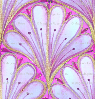 Art Deco Fan , watercolor lilac and magenta