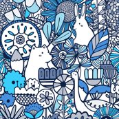 Rabbit, fox, bird and flowers