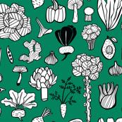 Vegetables on green background