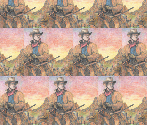 Cowboy Western Town fabric by fabric_is_my_name on Spoonflower - custom fabric