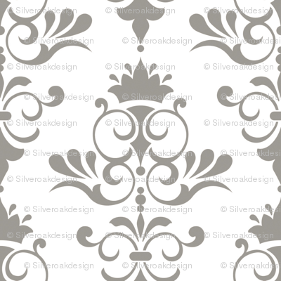 Sunset - White and Olive Green Damask