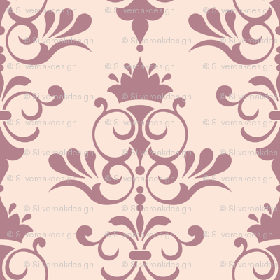 Sunset - Vanilla and Maroon Damask