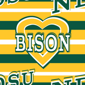 North Dakota State University Bison Green Gold White Team Colors School Stripes Heart