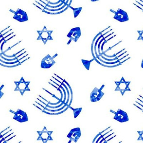 Hanukkah - blue watercolor - menorah, dreidel, Star of David