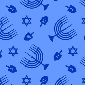 Hanukkah - blue on blue - menorah, dreidel, Star of David