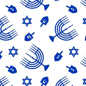 Hanukkah - blue - menorah, dreidel, Star of David