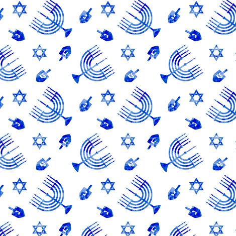 (small scale) Hanukkah - blue watercolor - menorah, dreidel, Star of David fabric by littlearrowdesign on Spoonflower - custom fabric