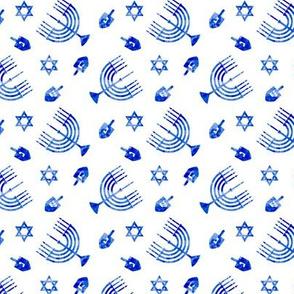 (small scale) Hanukkah - blue watercolor - menorah, dreidel, Star of David
