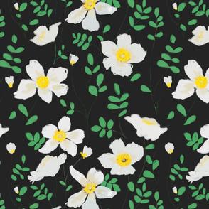 Cleo - white floral on black