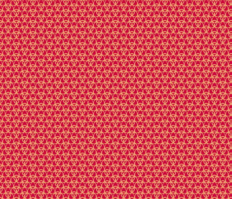 Medium Biohazard Trefoils  Gold on Red fabric by ameliae on Spoonflower - custom fabric