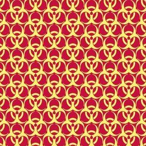 Medium Biohazard Trefoils  Yellow on Red