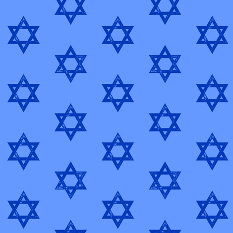 Star of David - blue on blue fabric by littlearrowdesign on Spoonflower - custom fabric