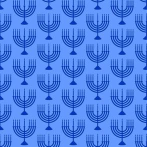 Menorahs - Hanukkah  - blue on blue