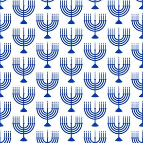 Menorahs - Hanukkah  - blue on white
